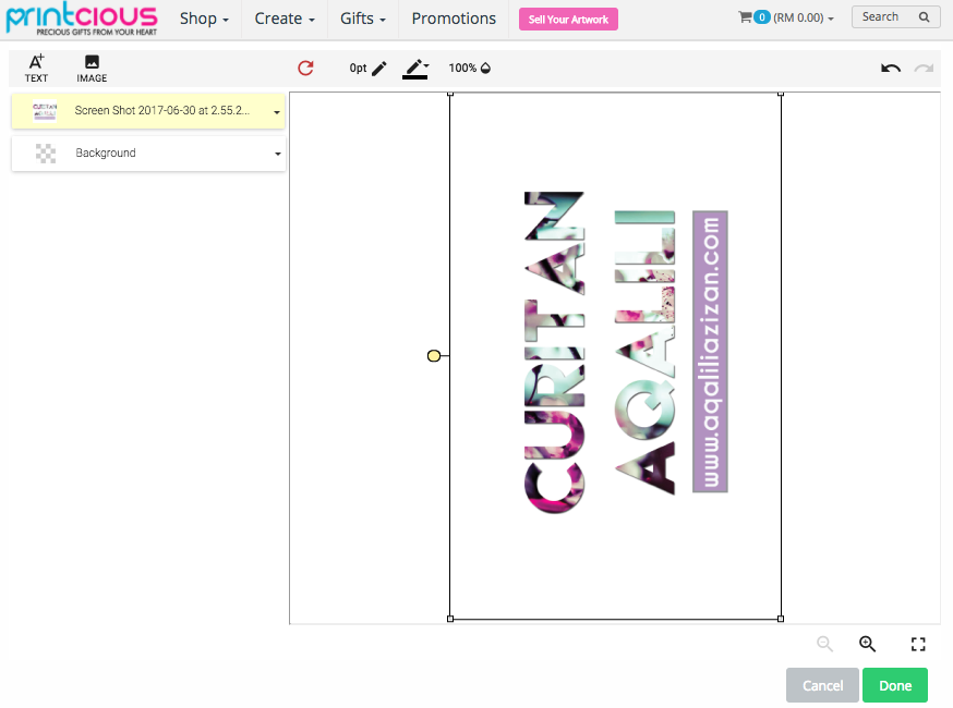 Printcious customisation tool