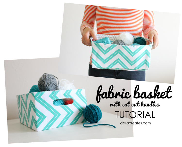 12 Creative DIY Fabric Storage Bins featured by top US craft blog, Flamingo Toes: Fabric Bucket (with cut out handles) Tutorial by Delia Creates