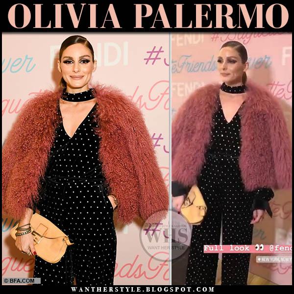 Olivia Palermo in pink faux fur jacket, black embellished polka dot chocker neck top and embellished velvet trousers self portrait new york fashion week outfits