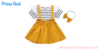 40% off Toddler Girls Clothes Black White Stripes Ruffle Tops Jumpsuit + Suspender Skirt + Headband 3PCS Outfit Set