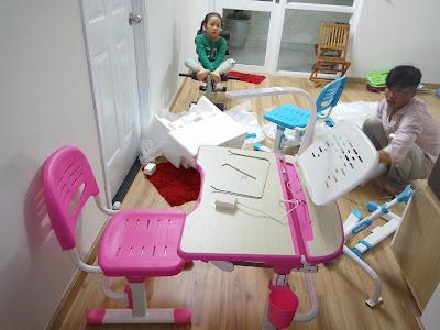 khách hàng phản hồi về lắp ráp bàn học cho bé