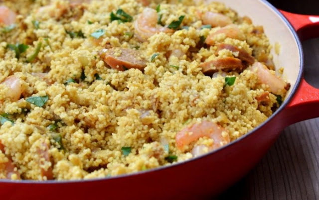 Spicy Couscous with Shrimp and Chorizo #seafood #shrimp