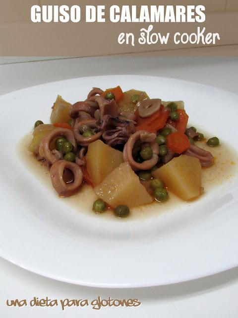 Calamares guisados con patatas (convencional o slow cooker)