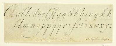 Gekalligrafeerd alfabet, Andries Hogeboom, Ambrosius Perling, Dutch calligraphy engraving, 1680 - 1701