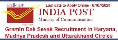 GDS Recruitment in Haryana MP and Uttarakhand 2020