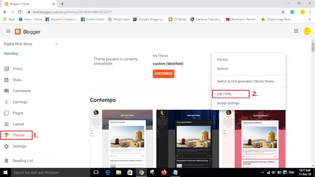 edit html template in blogger