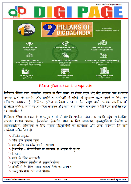 DP | DIGITAL INDIA | 22 - APR - 17 | IMPORTANT FOR SBI PO