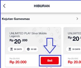 Cara membeli paket Promo Paket GamesMAX 31GB Harga 20.000