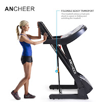 Hydraulic spring easy-lift assist folding deck system on Ancheer Folding Electric Treadmill, image