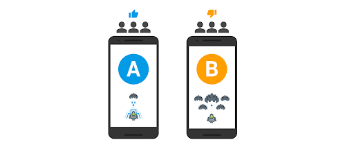 2 phones with A/B testing