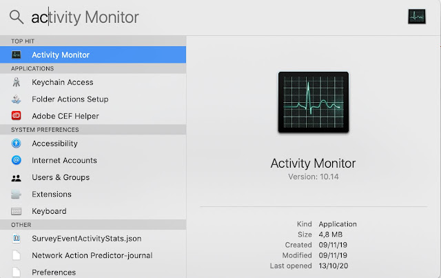 Command + Space Cara Menampilkan Grafik Monitor CPU Di MacBook