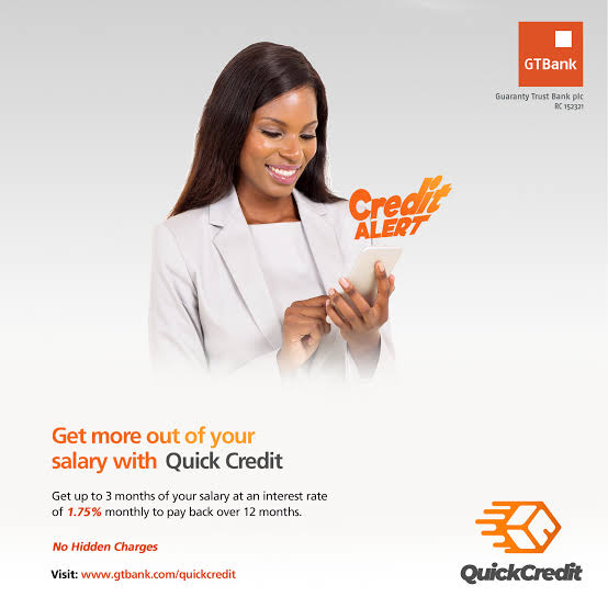 GTbank quick credit loan, Get up to N5million with low interest rate