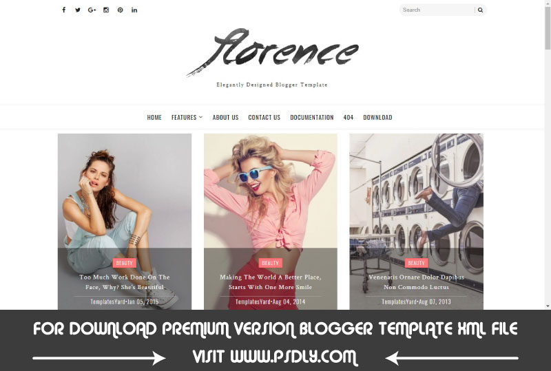 Download Free Florence Minimal & Elegant Blogger Template Premium