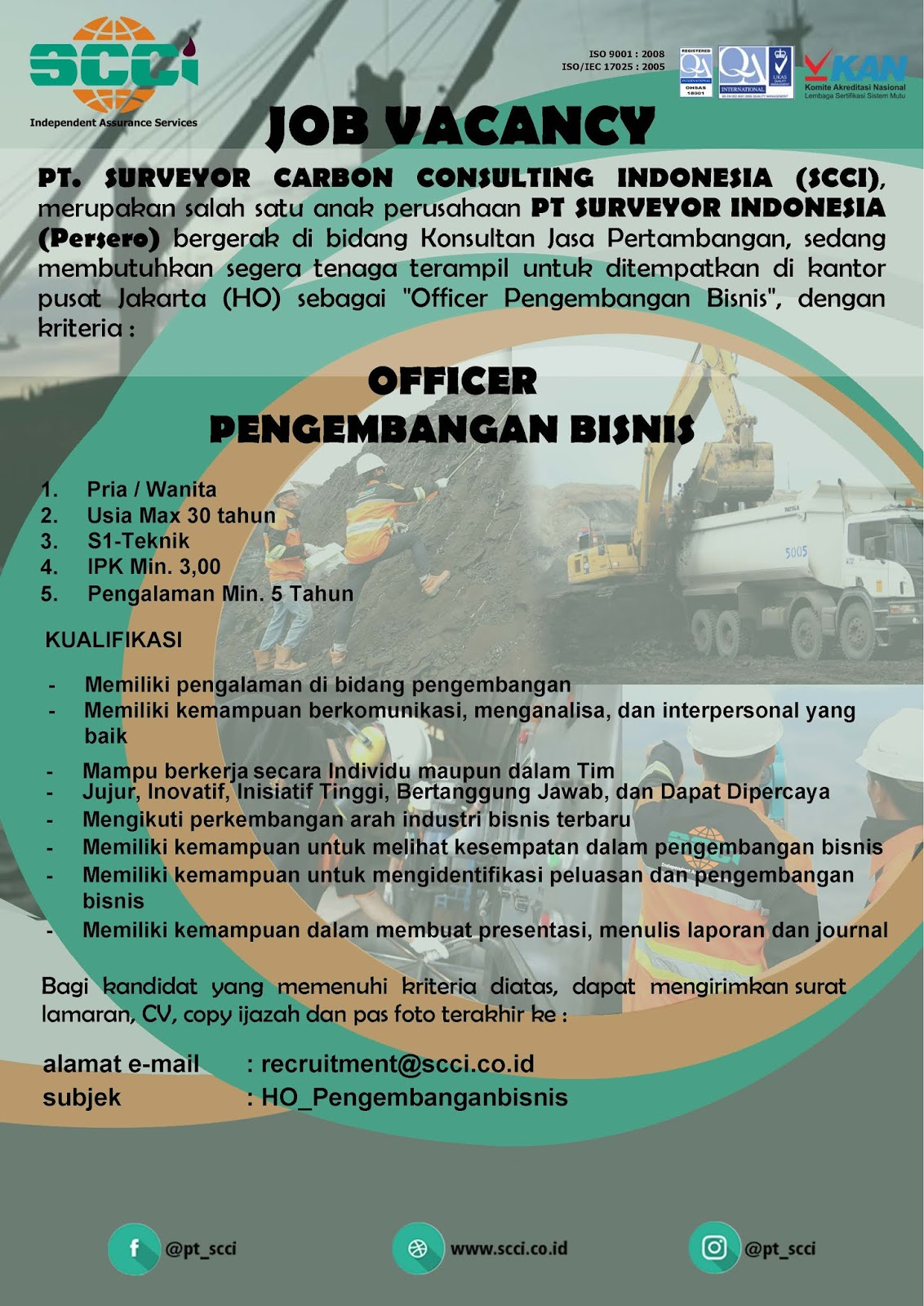 Rekrutmen Pegawai PT. Surveyor Carbon Consulting Indonesia [PT Surveyor Indonesia GROUP] Bulan Maret 2020