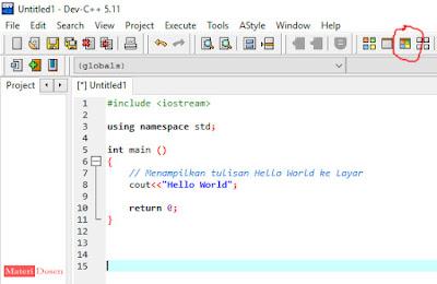 Tekan Compile & Run seperti pada gambar (pada bagian kanan atas)