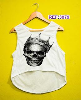 Regata Cropped Tshirt Feminina Atacado caveira