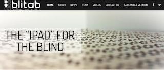 "Imagen de la portada de la web de Blitab cuya leyenda dice ""tha ipad for the blind"""