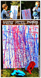 Water pistol painting is a fun outdoor painting technique for kids. This art activity is perfect for the Summer and suitable for preschoolers upwards. Kids art inspired by the famous artist Jackson Polluck.