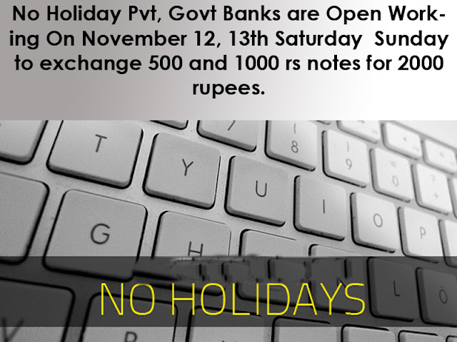 Govt or Pvt Bank's Working On November 12, 13th Saturday and Sunday 2016