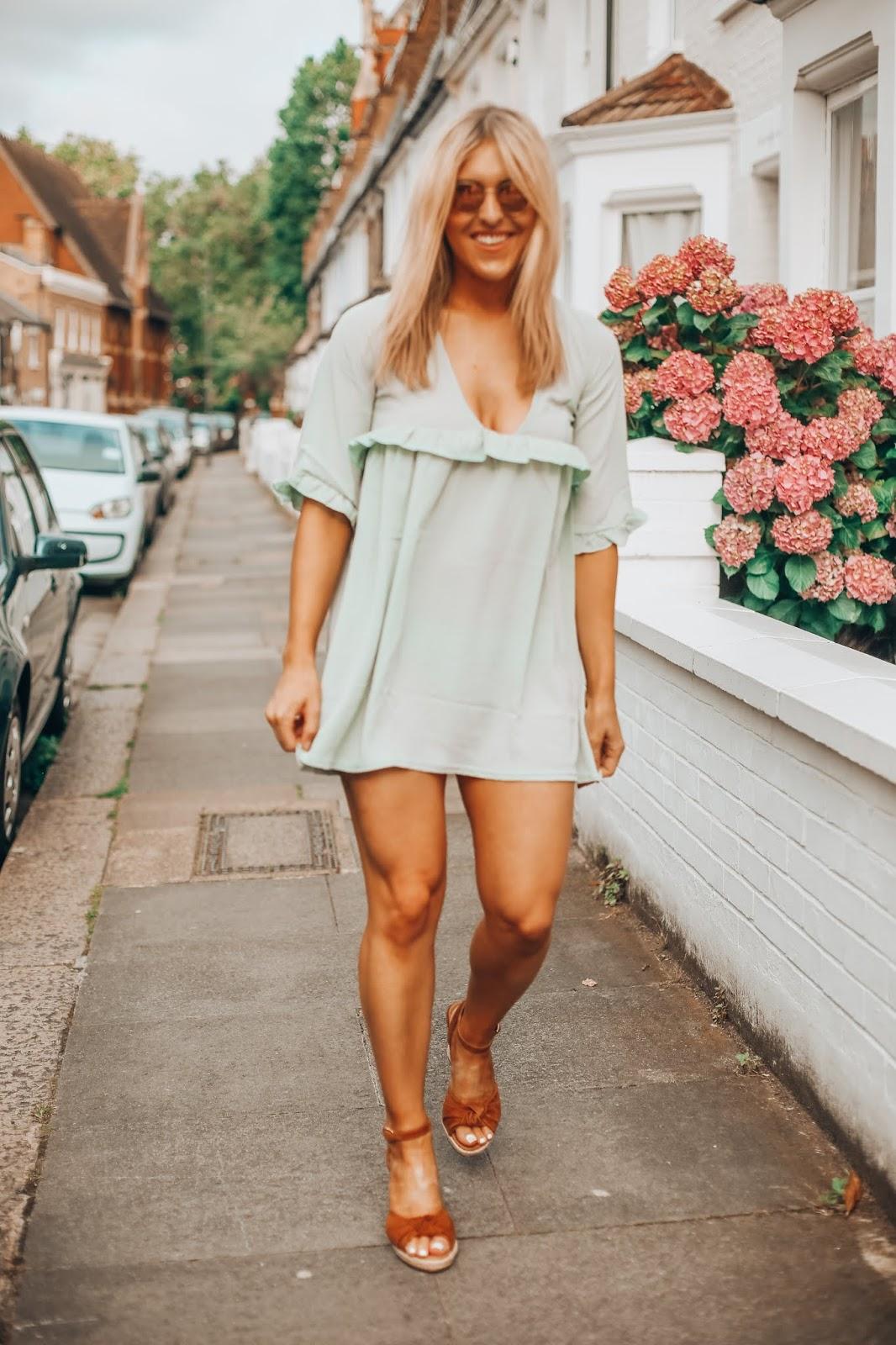 Womens Sage Ruffle Detail Plunge Smock Dress
