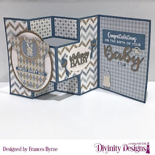 Divinity Designs Stamp Set: Bless This Baby, Custom Dies: Baby Blessings, Sentiment Strips, Half Shutter Card With Layers, Ovals, Scalloped Ovals, Paper Collection: Baby Boy