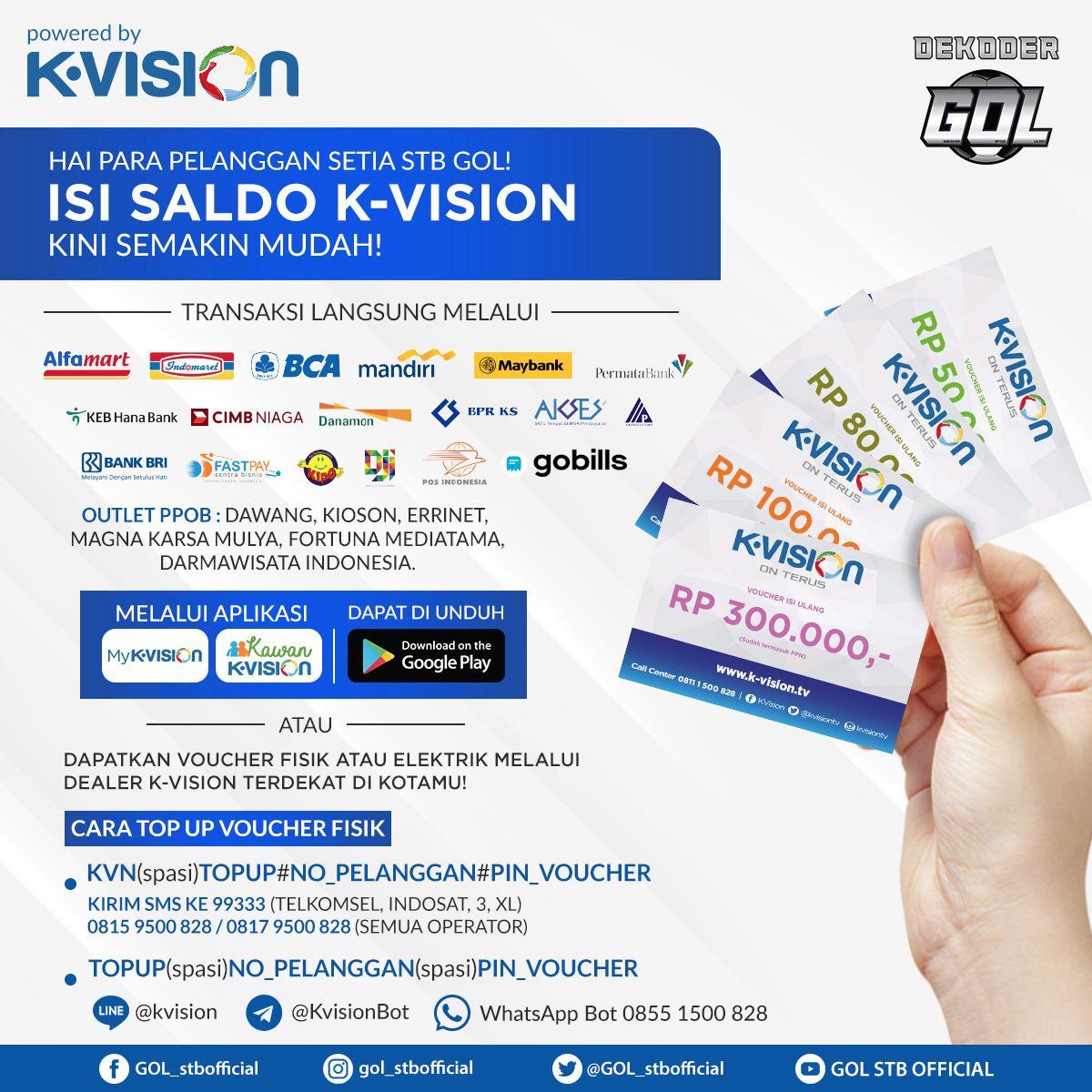cara top up kvision gol, Cara Mengaktifkan Paket Liga 1 K-Vision GOL