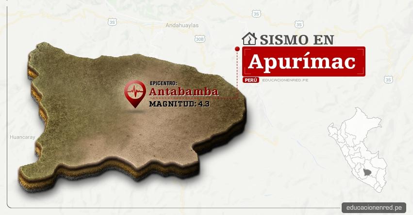 Temblor en Apurímac de 4.3 Grados (Hoy Lunes 30 Enero 2017) Sismo EPICENTRO Antabamba - IGP - www.igp.gob.pe
