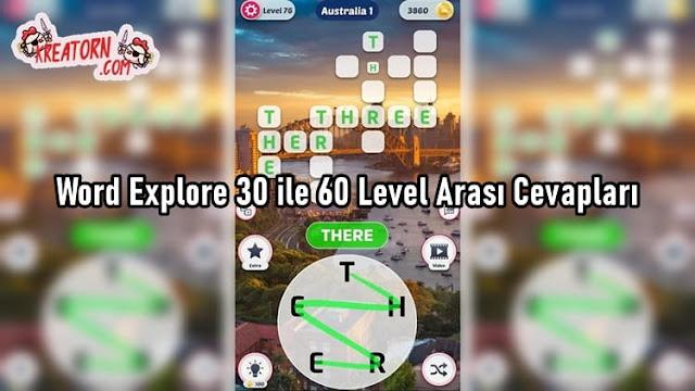 Word Explore 30 ile 60 Level Arası Cevapları