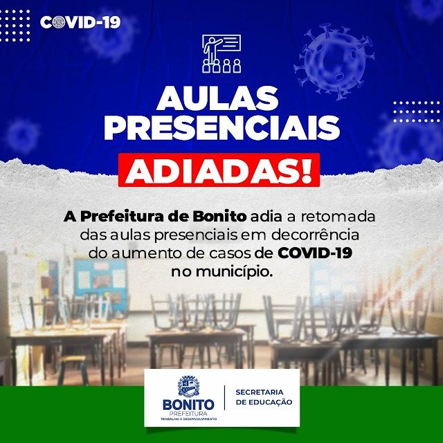 Prefeitura de Bonito adia retorno das aulas presencias em decorrência do aumento do número de casos de COVID-19 no município