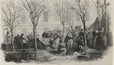 Détenues dans la cour de la prison Saint-Lazare