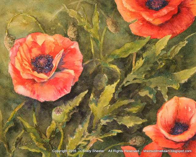 Dancing Poppies Watercolor Painting