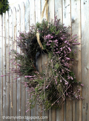 purple heather wreath with burlap hanger
