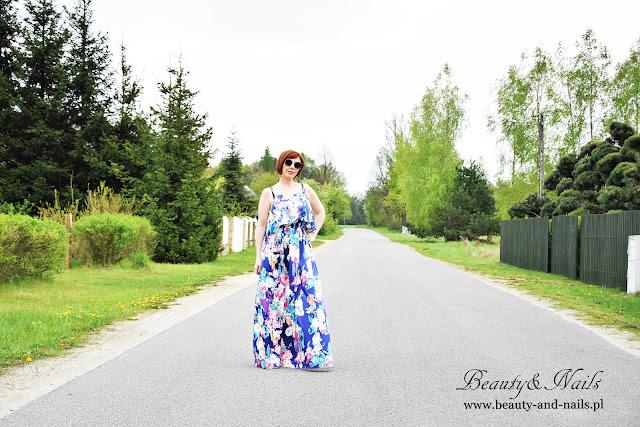ZAFUL - niebieska suknia w kwiaty.