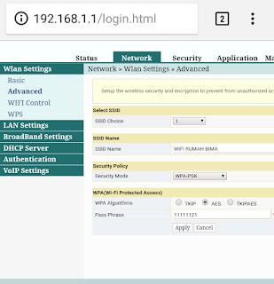 Cara mengganti nama wifi dan password modem fiberhome