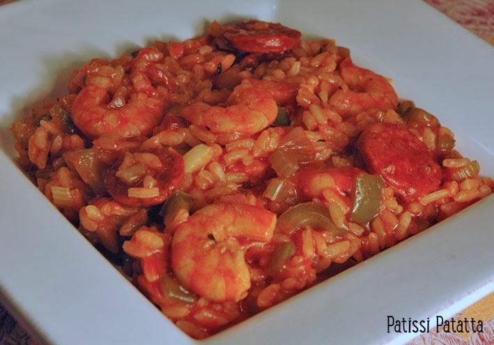 recette de jambalaya, riz cuisiné, jambalaya créole, crevettes et chorizo,