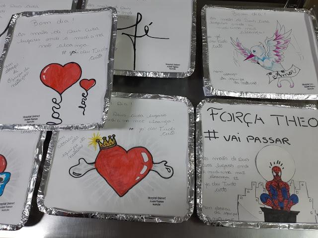 Marmitas com mensagens entregues à pacientes do Hospital Unimed Petrópolis