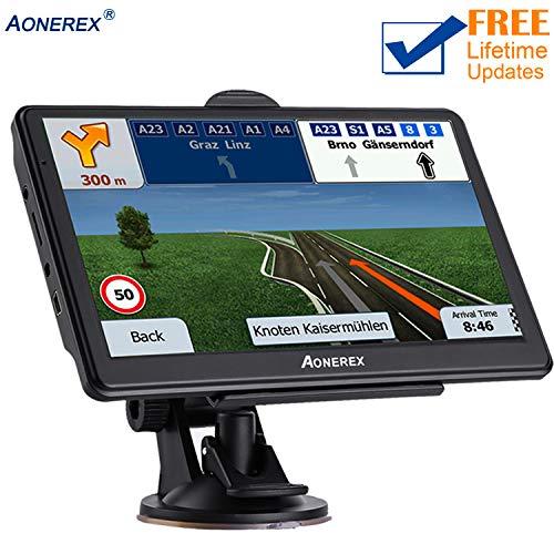 7 inch 8GB/&256MB Truck GPS Navigation System,Spoken Turn to-Turn Traffic Alert Vehicle Car GPS Navigator,Lifetime Free Map Updates GPS Navigation for Car