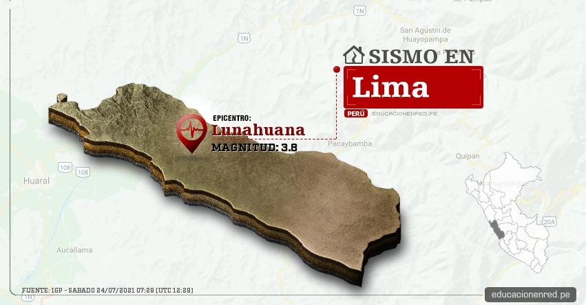 Temblor en Lima de Magnitud 3.8 (Hoy Sábado 24 Julio 2021) Sismo - Epicentro - Lunahuaná - Cañete - IGP - www.igp.gob.pe