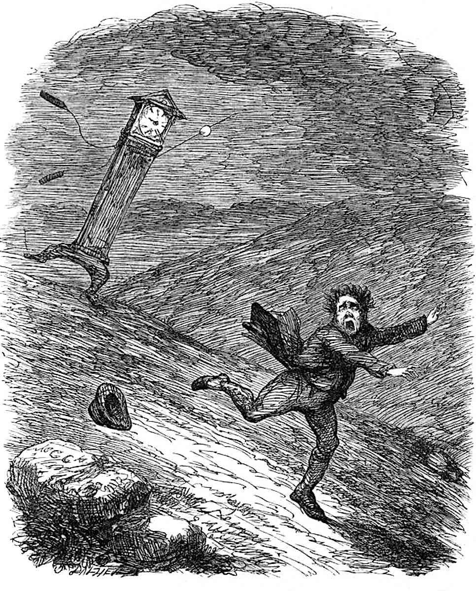 a George Cruikshank cartoon, a man flees from time