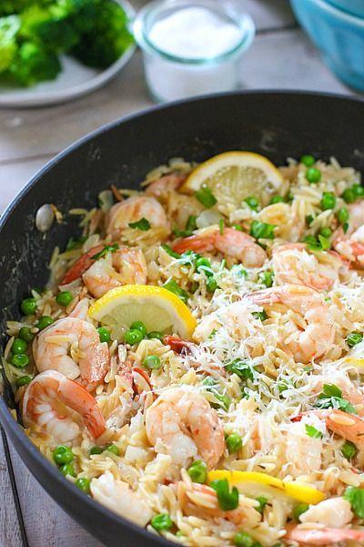 20 Minute One Pan Shrimp and Orzo Dinner #DINNER #SHRIMP