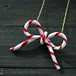 """Lines Across"": Candy Cane Bow Necklace (or Ornament)"