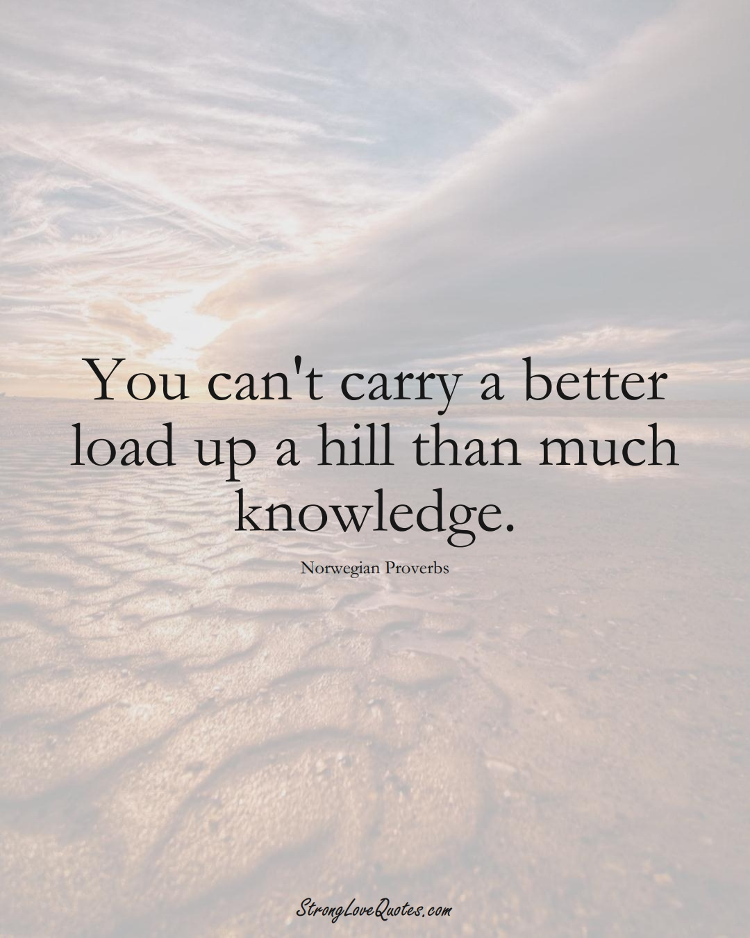 You can't carry a better load up a hill than much knowledge. (Norwegian Sayings);  #EuropeanSayings