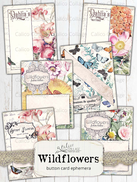 Wildflower Journaling Tags Collage Sheet No 1