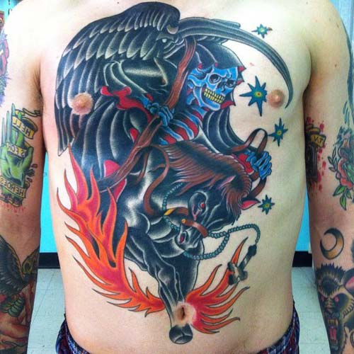 grim reaper tattoos with horse azrail dövmeleri
