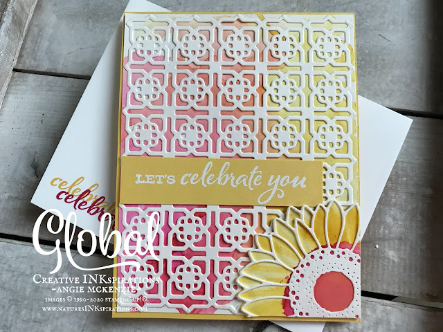 By Angie McKenzie for Global Creative Inkspirations; Click READ or VISIT to go to my blog for details! Featuring the new Celebrate Sunflowers Bundle and the Many Medallions Dies from the 2020-21 Annual Catalog; #celebratesunflowersbundle #celebratesunflowersstampset #sunflowerdies #manymedallionsdies #waterpainters #watercoloring #stampingtechniques #cardtechniques #stampinup #handmadecards #stampinupinks #birthdaycards