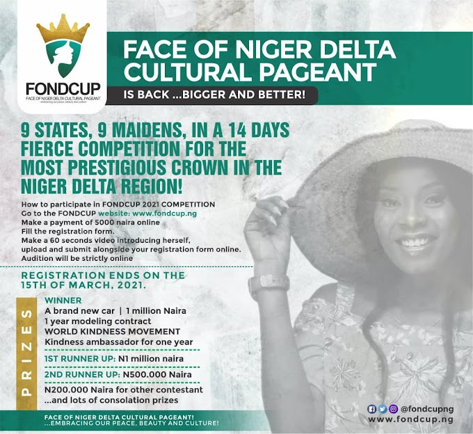 Face of Niger Delta Cultural Pageant, FONDCUP announces entries for 2021 edition (HOW TO PARTICIPATE)