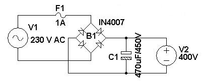 Swith For diagram: 230 V AC To 400 V DC Power Supply Circuit Diagram