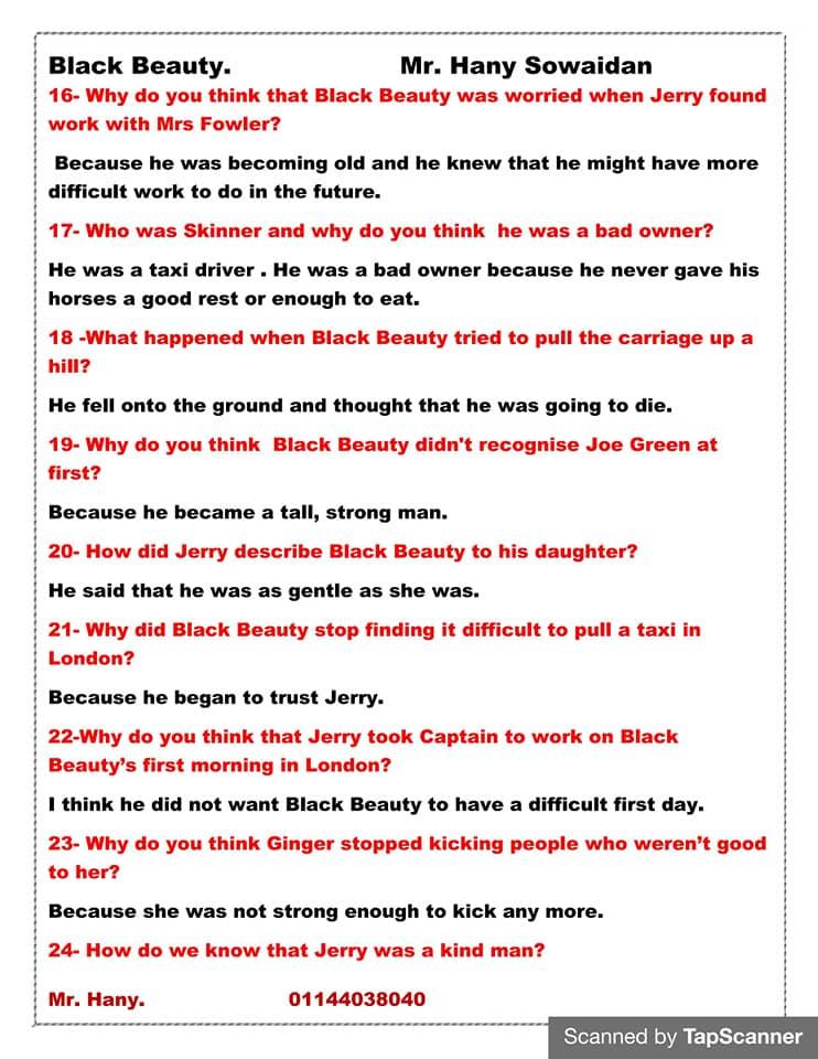 مراجعه أسئلة قصه اللغه الانجليزيه للصف الثالث الاعدادي ترم ثاني  مستر/ هاني سويدان 3