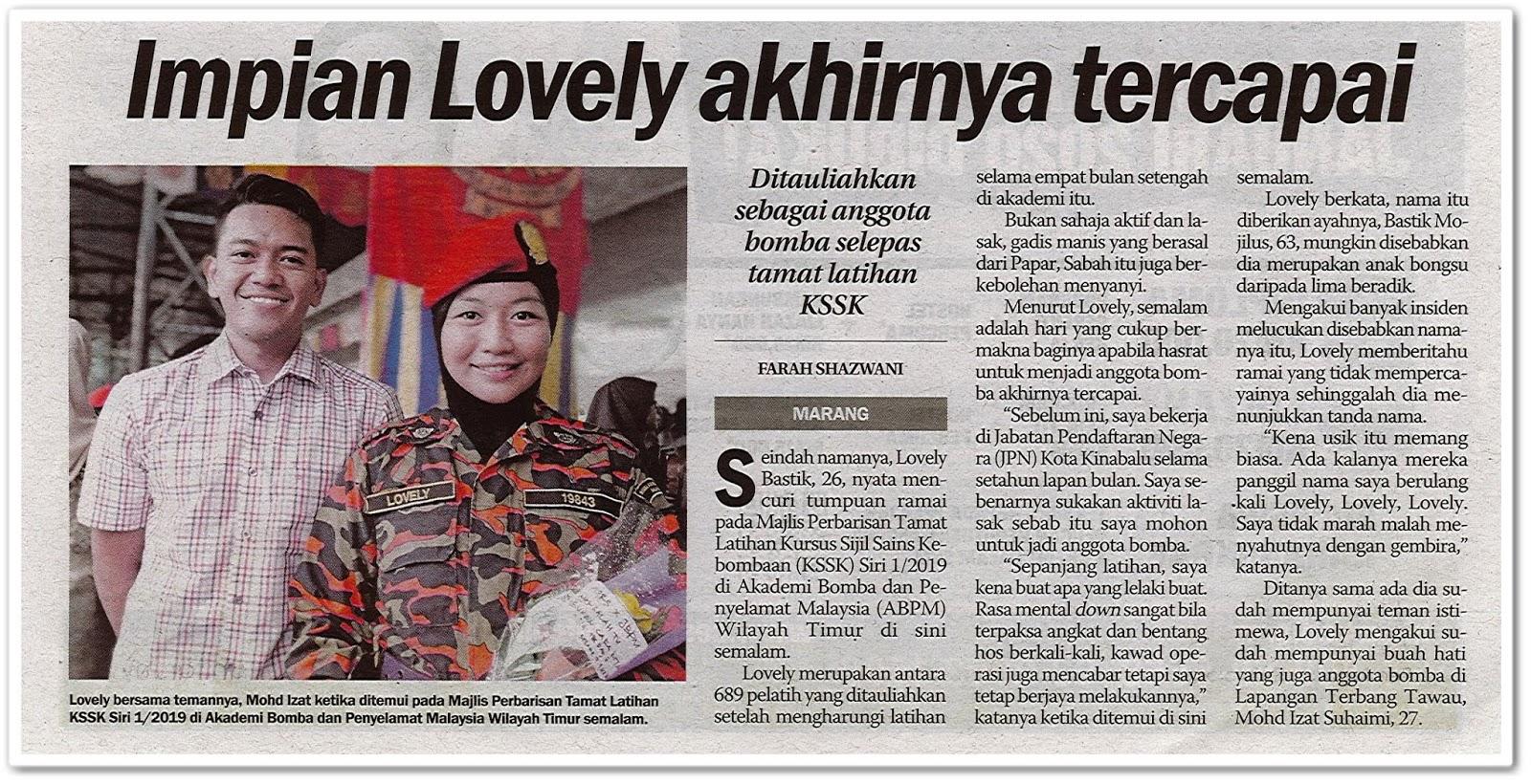 Impian Lovely akhirnya tercapai - Keratan akhbar Sinar Harian 18 Disember 2019