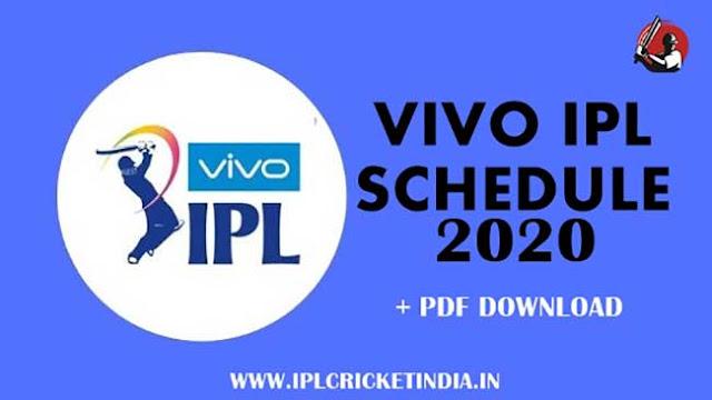 Vivo IPL Schedule 2020 - date, time table, schedule pdf